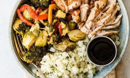 Chicken Bowl with Roasted Vegetables and Cauliflower Rice