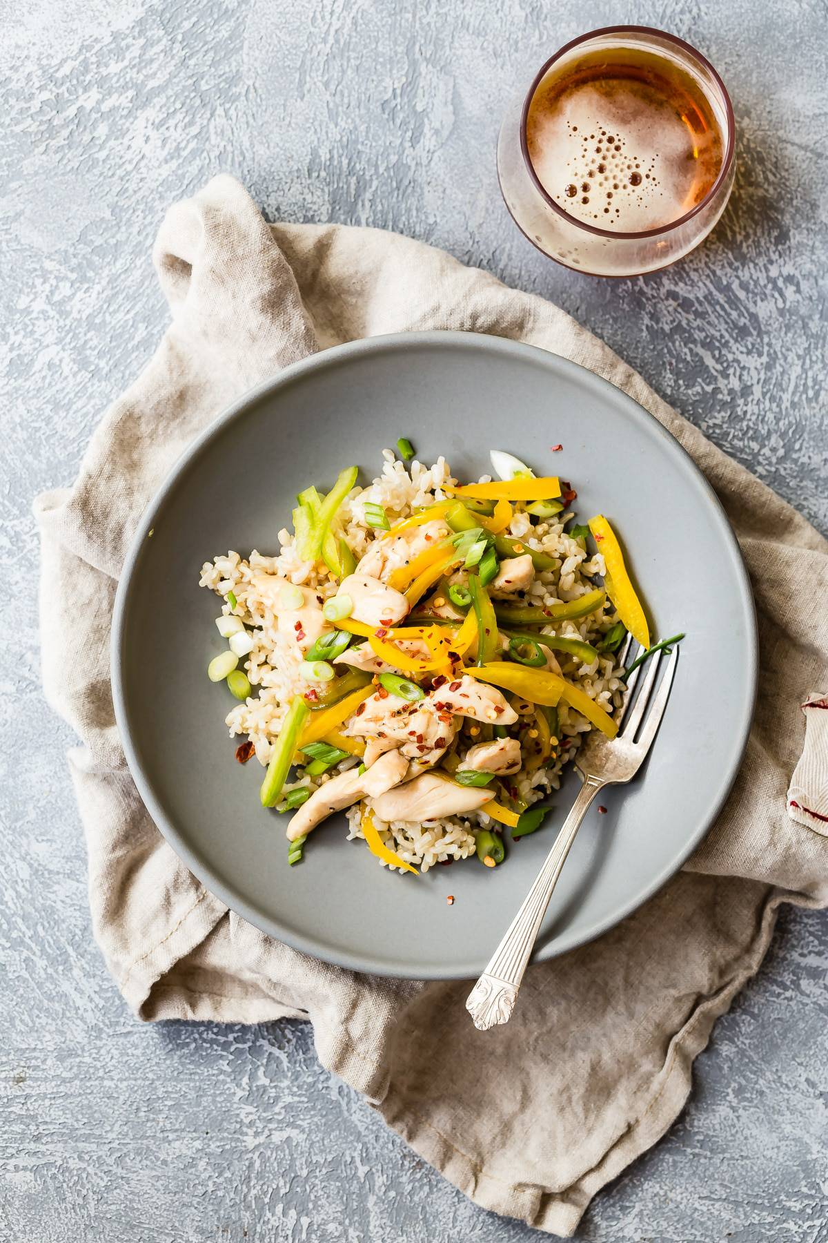 Sweet and sour chicken with brown rice