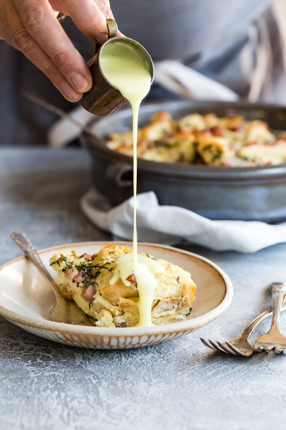Eggs Benedict Bread Pudding with hollandaise sauce
