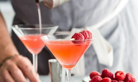 Raspberry Martini with Simple Syrup and Lime