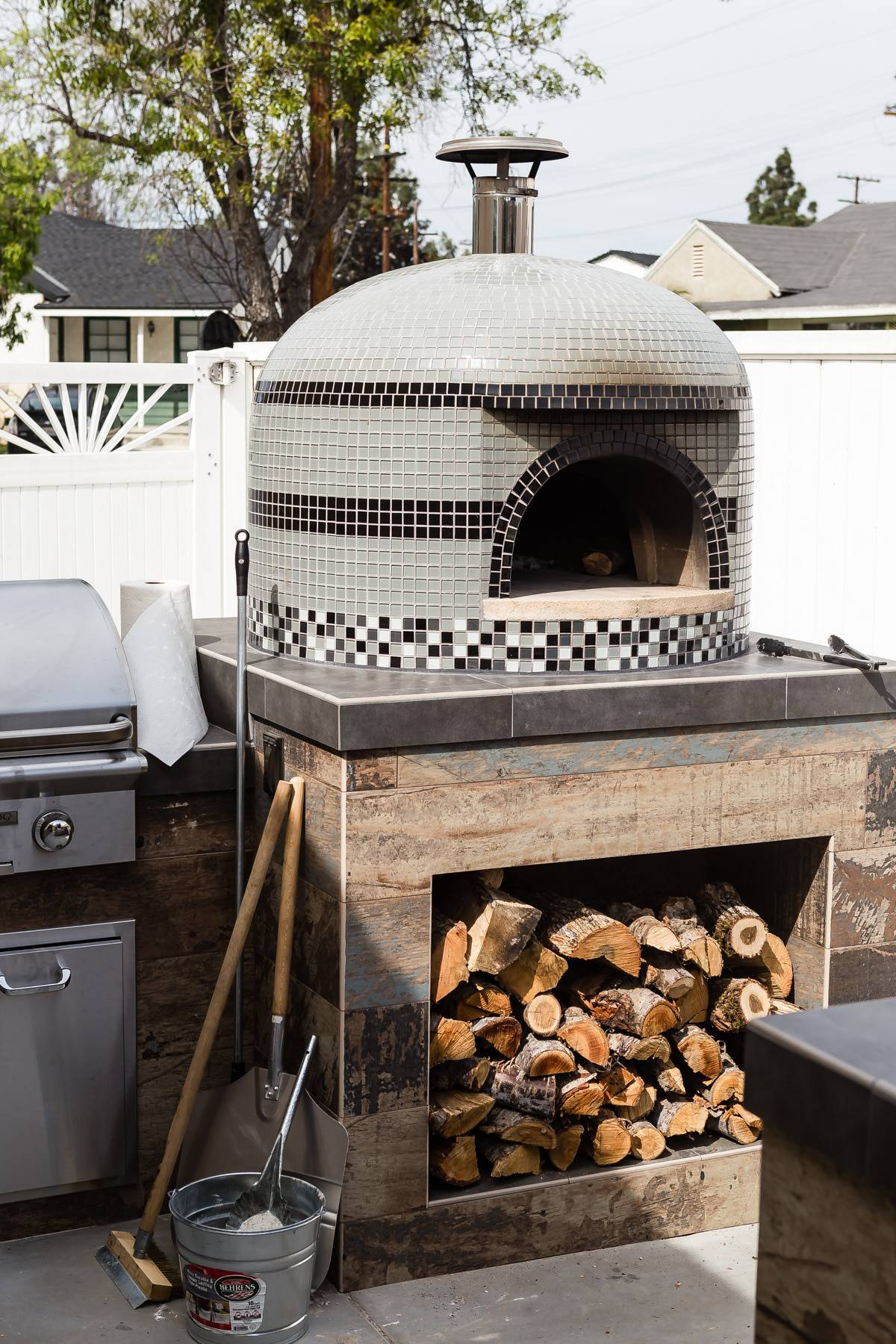 a traditional wood fired pizza oven
