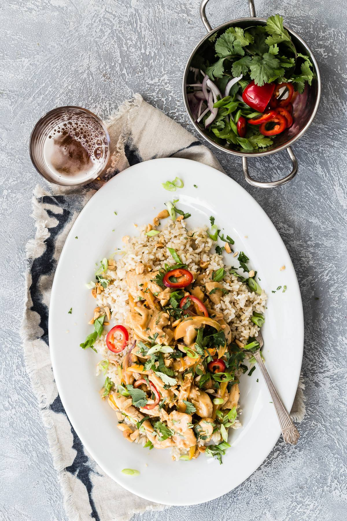 Chicken Stir Fry in a Spicy Thai Peanut Sauce