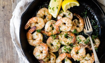 Wood Fired Shrimp with Basil Butter