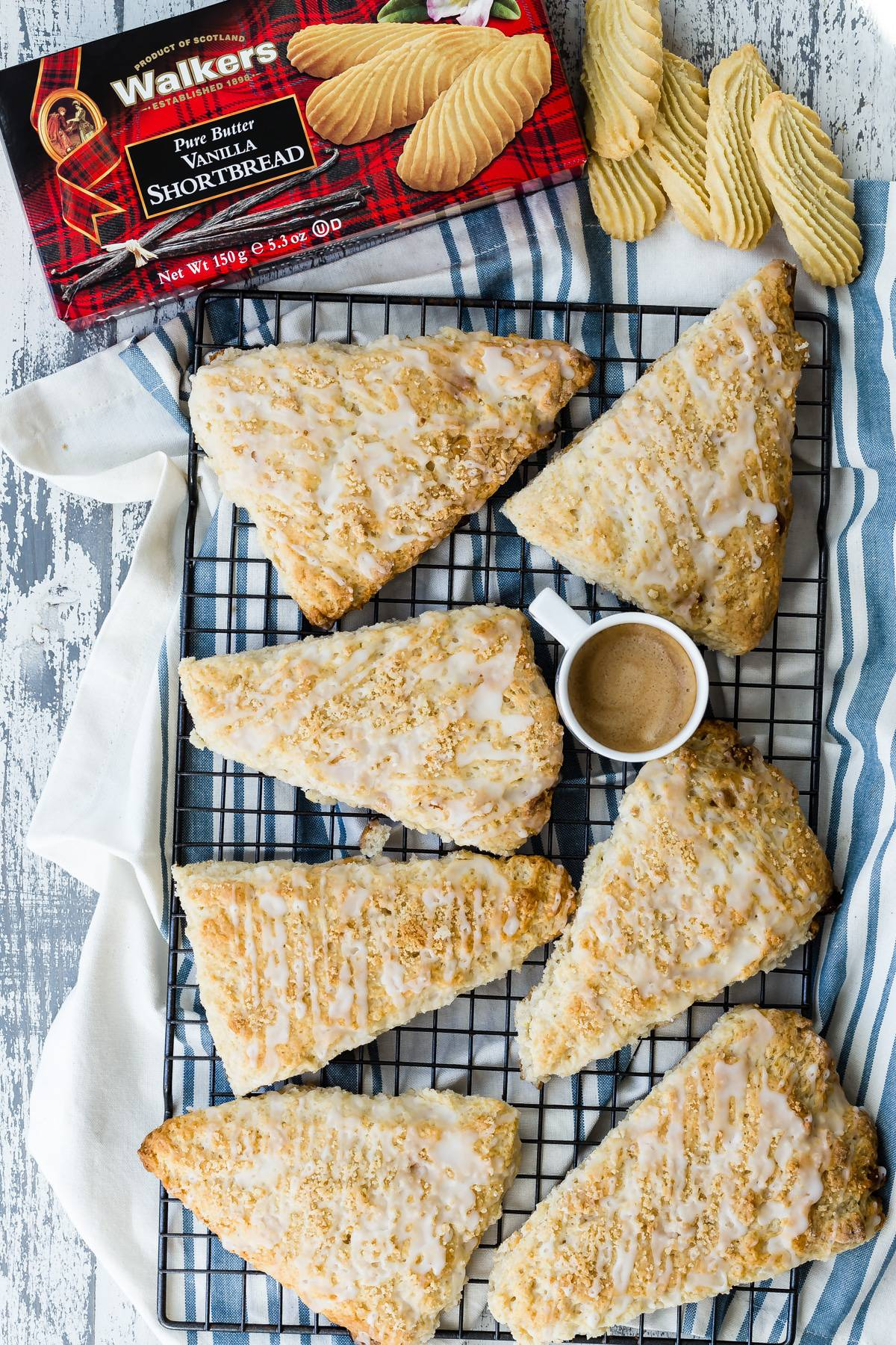 Lemon Shortbread Scones with Lemon Icing