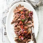 Pan Seared Rib Eye Steak with Blood Orange Salsa