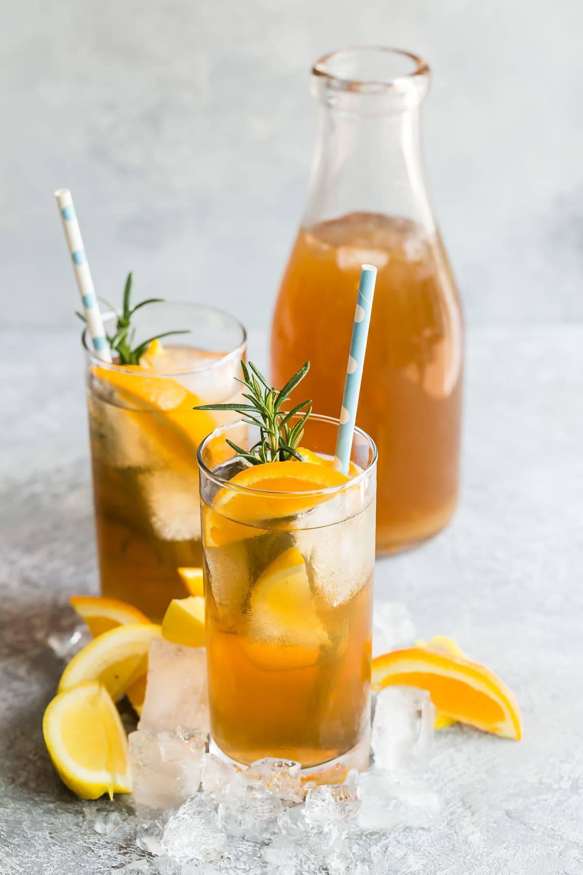 Peach Texas tea with oranges and lemons