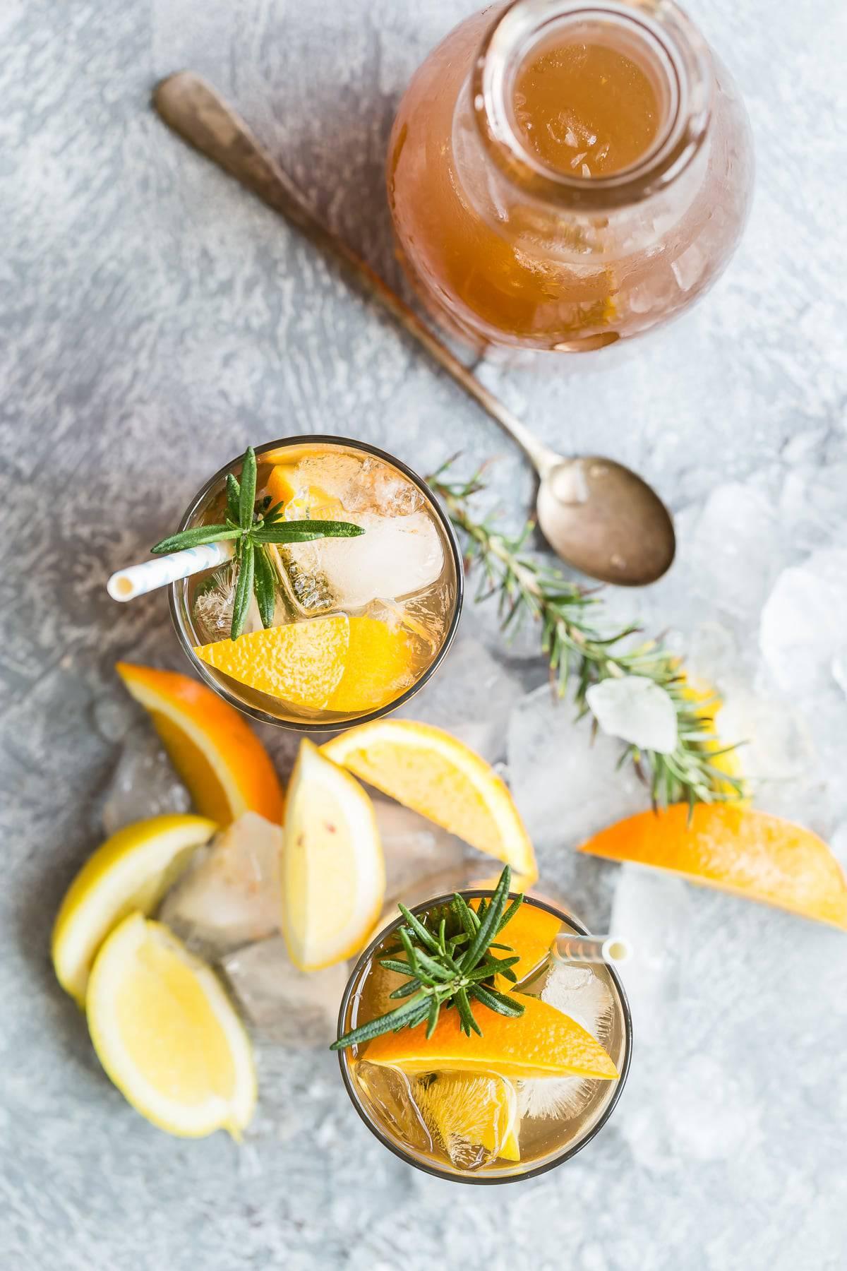 Peach Texas tea with rosemary