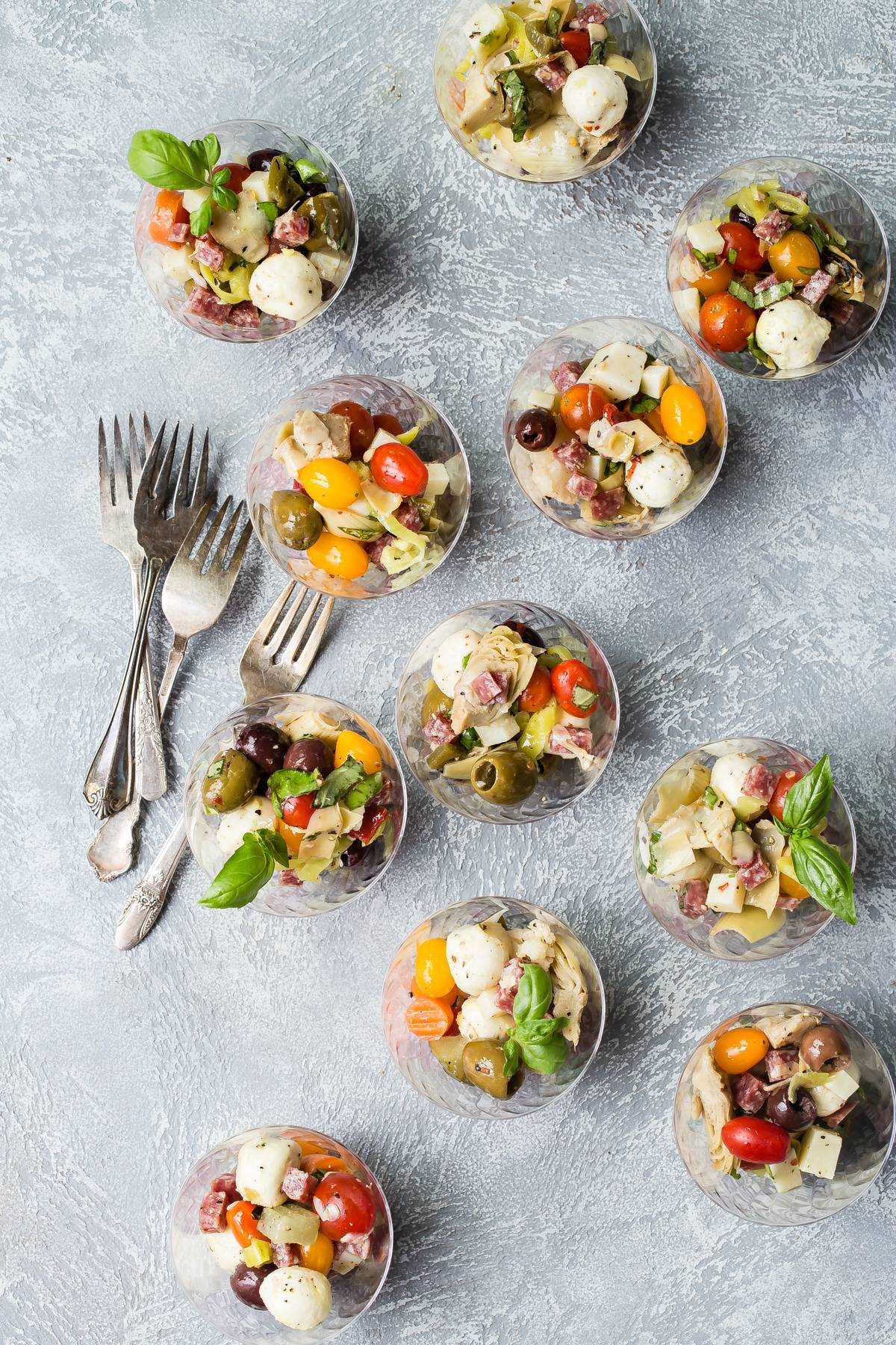 Antipasto salad cups