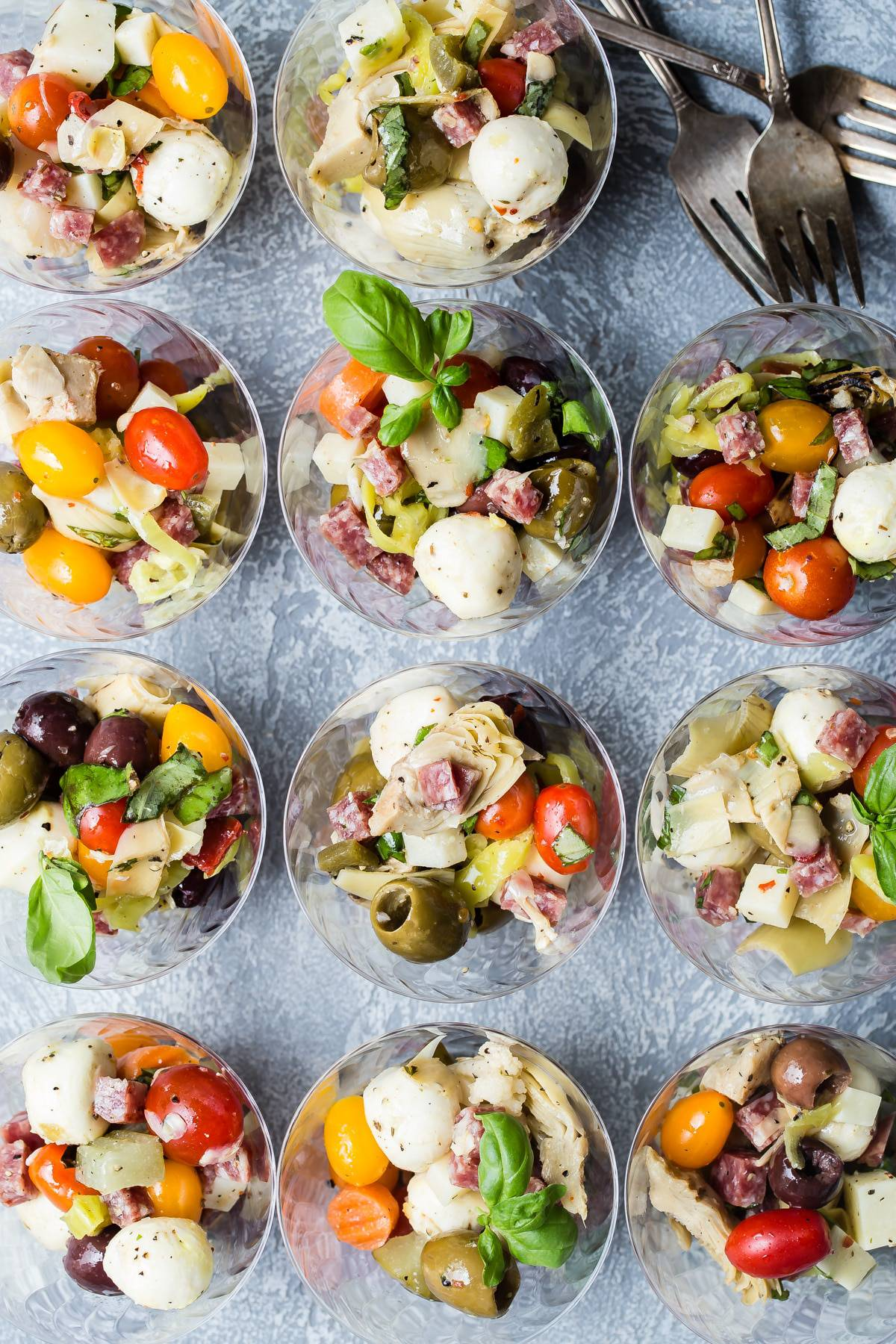 Perfect antipasto salad cups