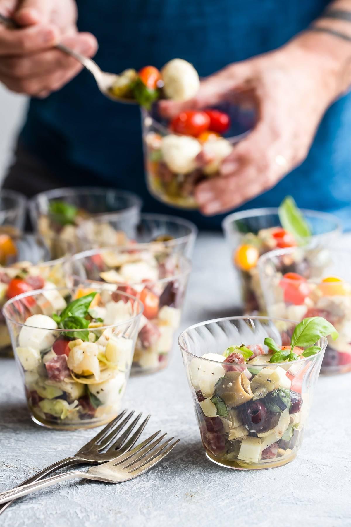 Easy antipasto salad with fresh basil