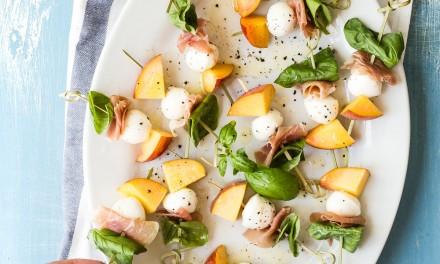 Peach Skewers with Prosciutto and Mozzarella