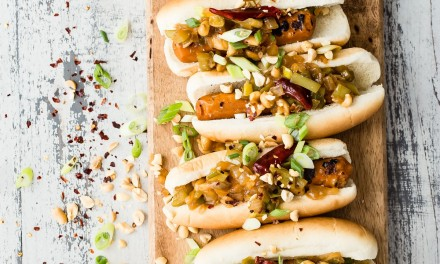 Grilled Kung Pao Veggie Hotdogs