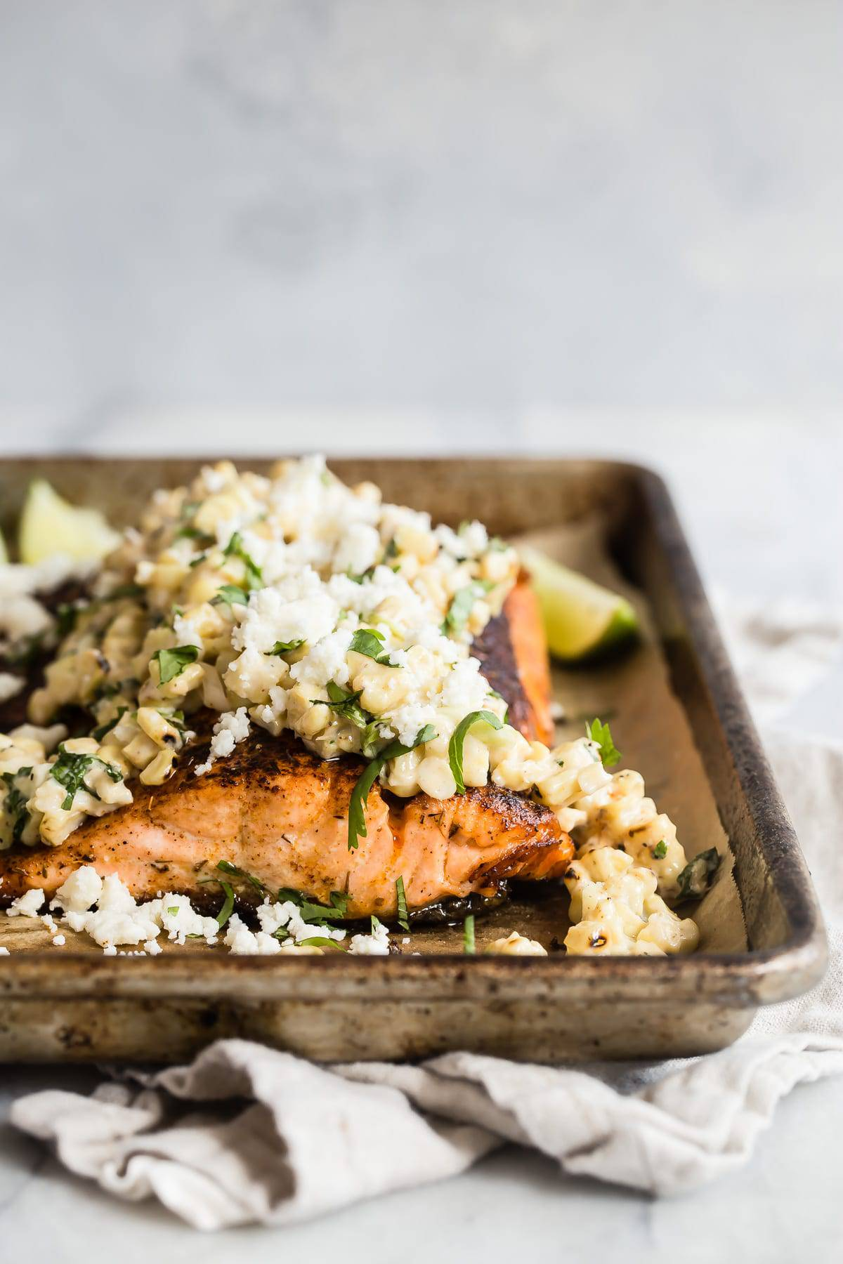 Blackened Salmon with Mexican Style Street Corn