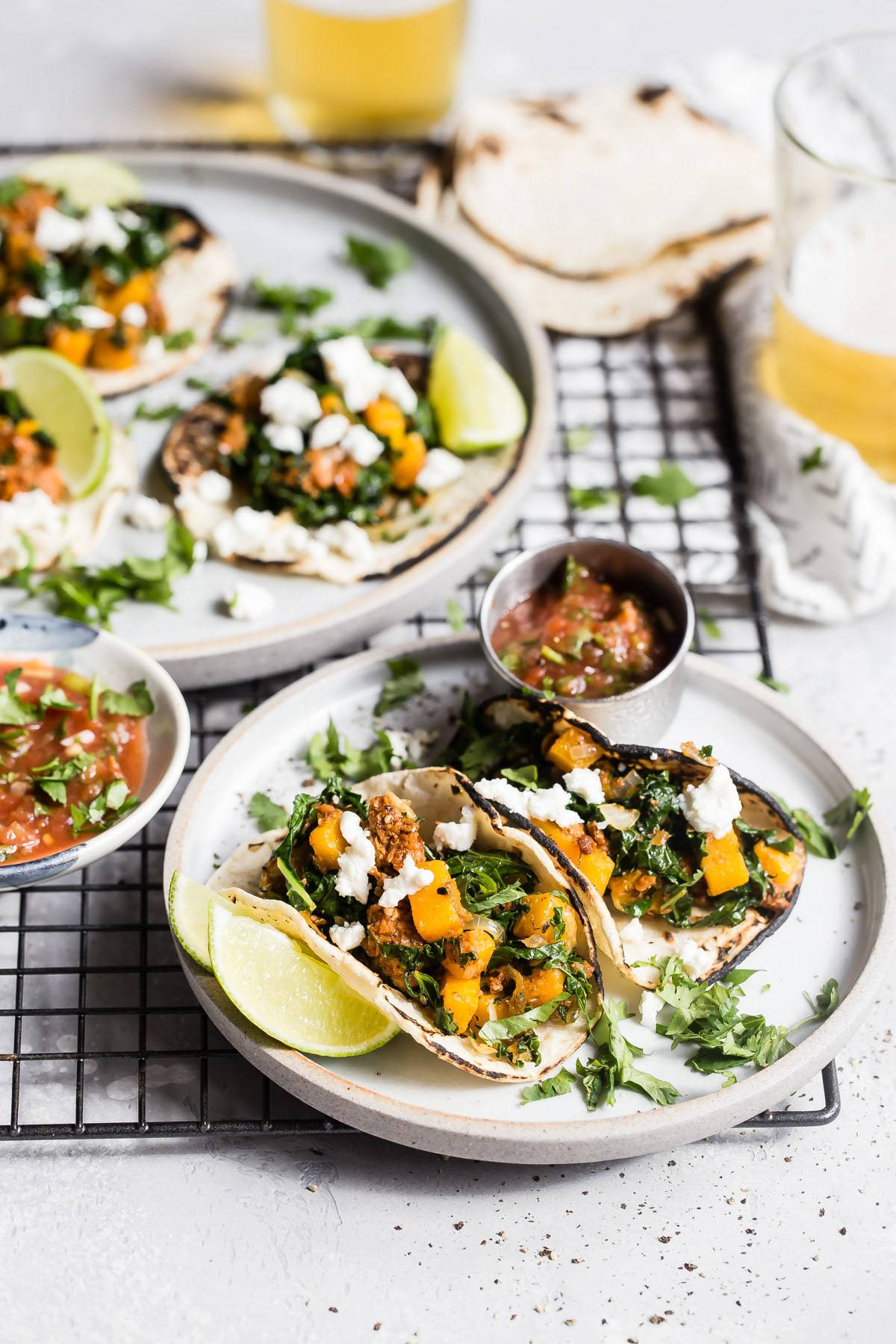 yummy butternut squash tacos with chorizo
