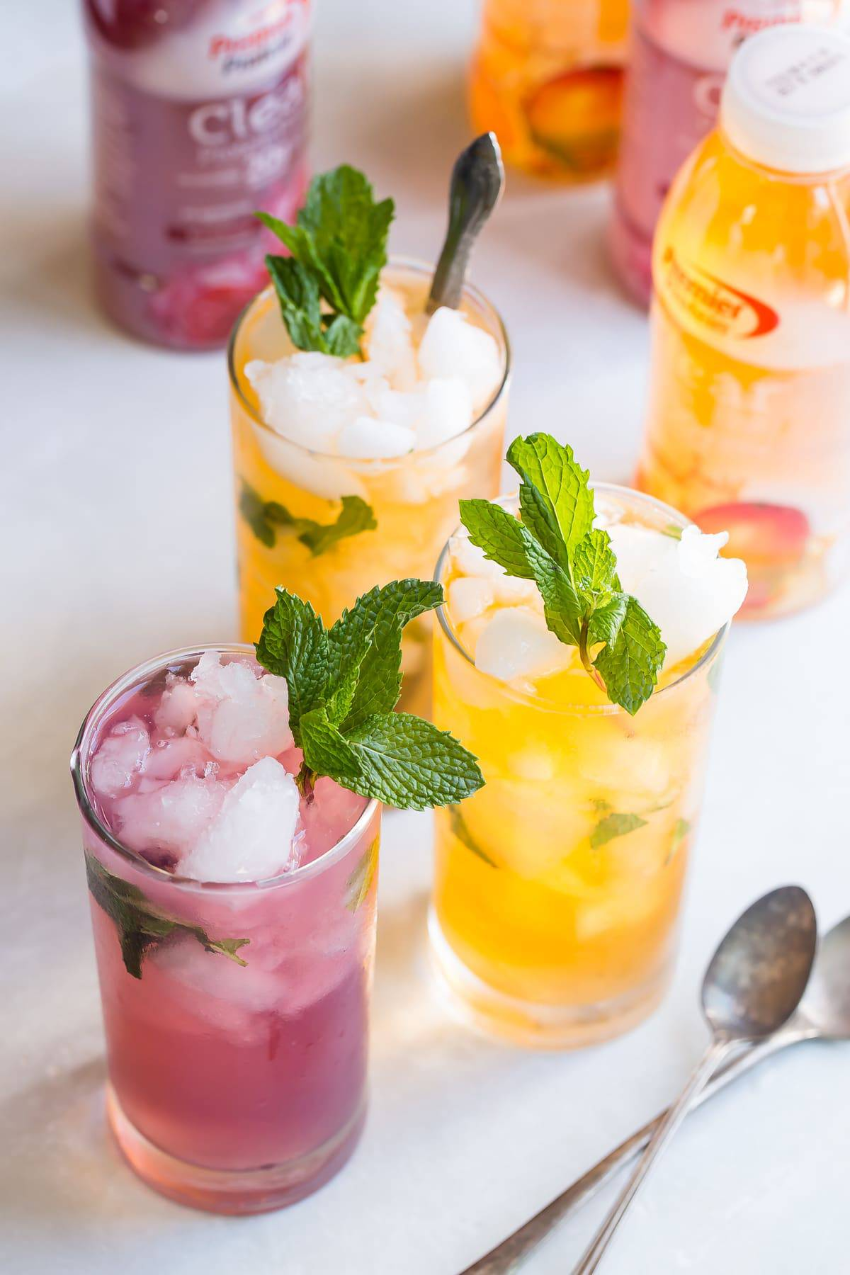 Iced protein drinks with fresh mint