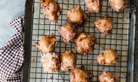Pumpkin Spice Glazed Apple Fritters