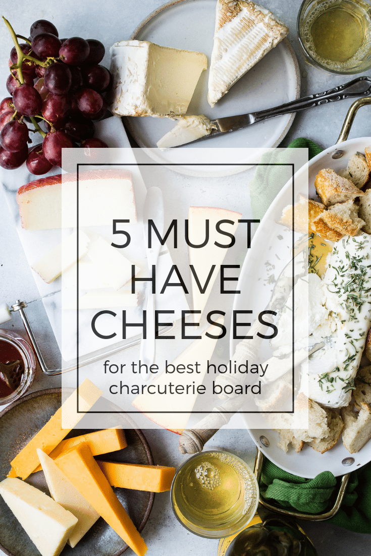 5 must have varieties of cheese to make an awesome holiday cheese board! These five kinds of cheese will cover everyone's tastes making your cheeseboard and charcuterie a popular party item! #cheese #cheeseboard #charcuterie #foodnessgracious