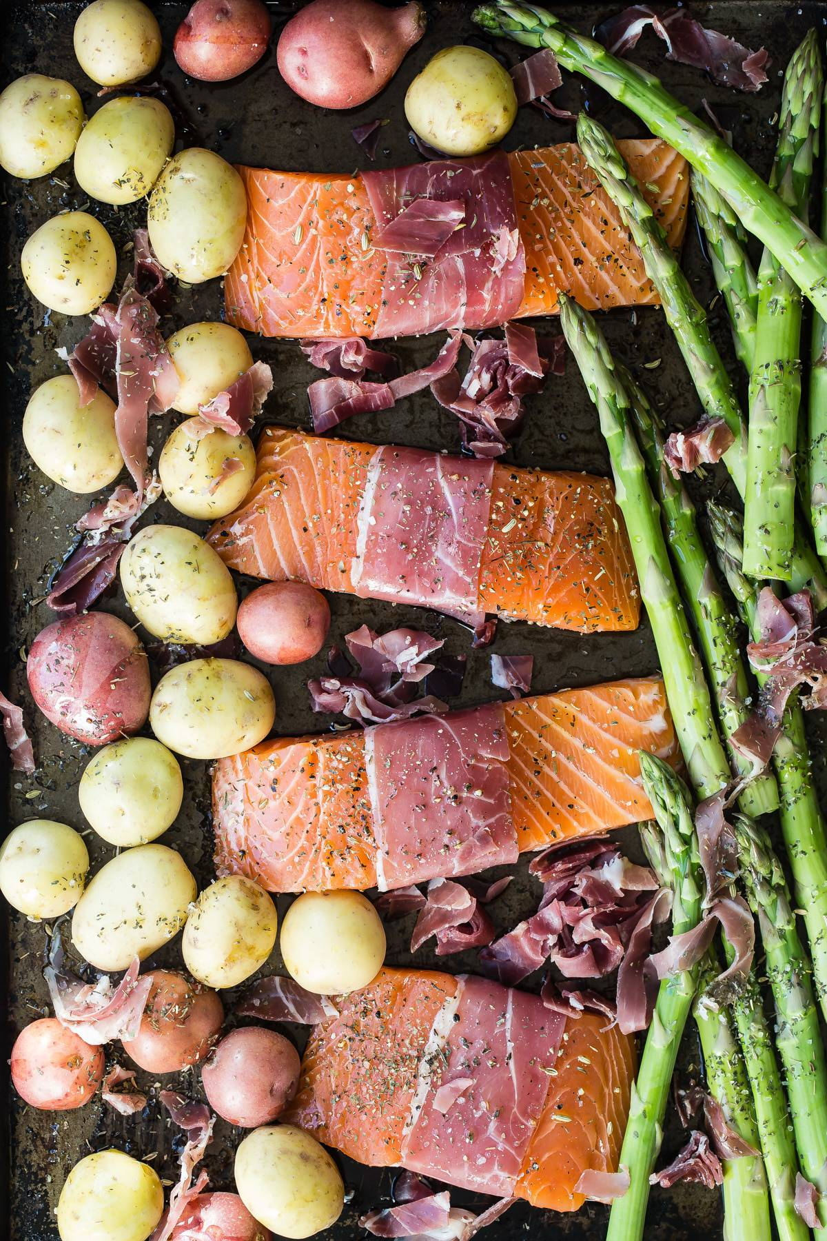 salmon potatoes and asparagus on a sheet pan