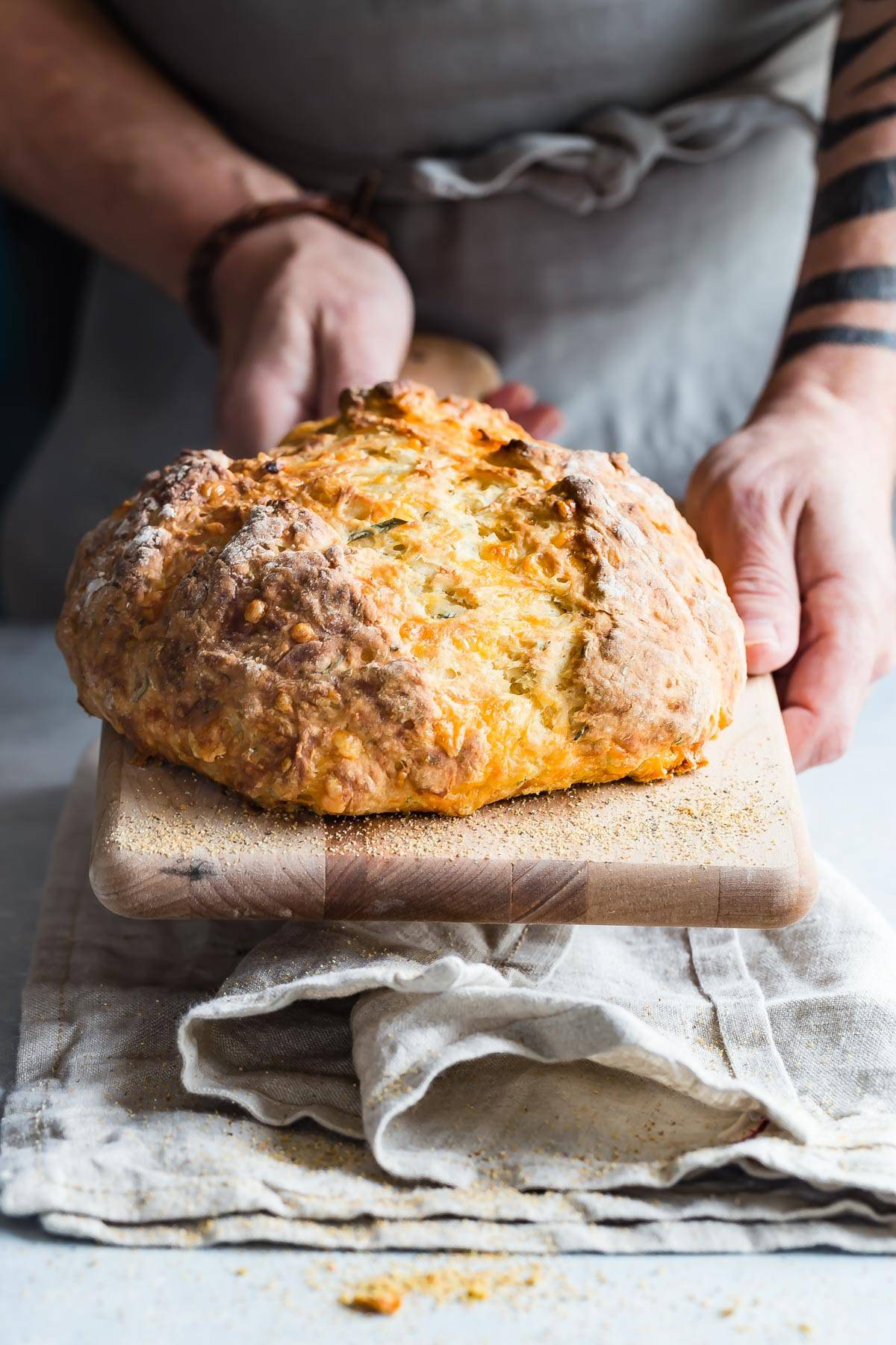 Cheese filled Irish soda bread