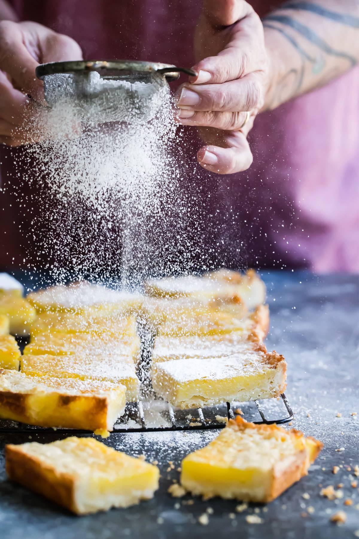 tasty orange bars with powdered sugar