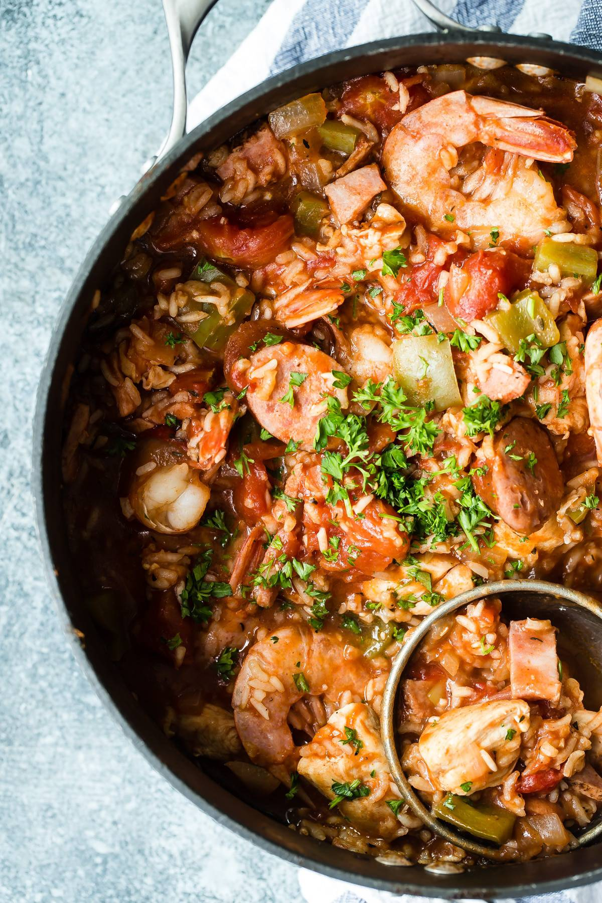 Cajun jambalaya with chicken, sausage and shrimp