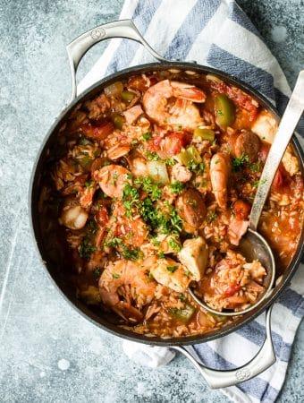 Cajun jambalaya with chicken, sausage and shrimp