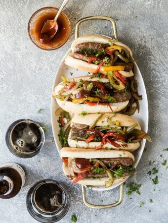 Sausage and peppers with beer