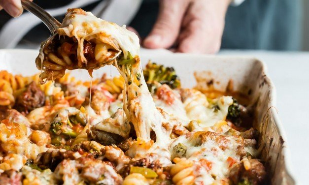 Broccoli and Double Sausage Pasta Bake