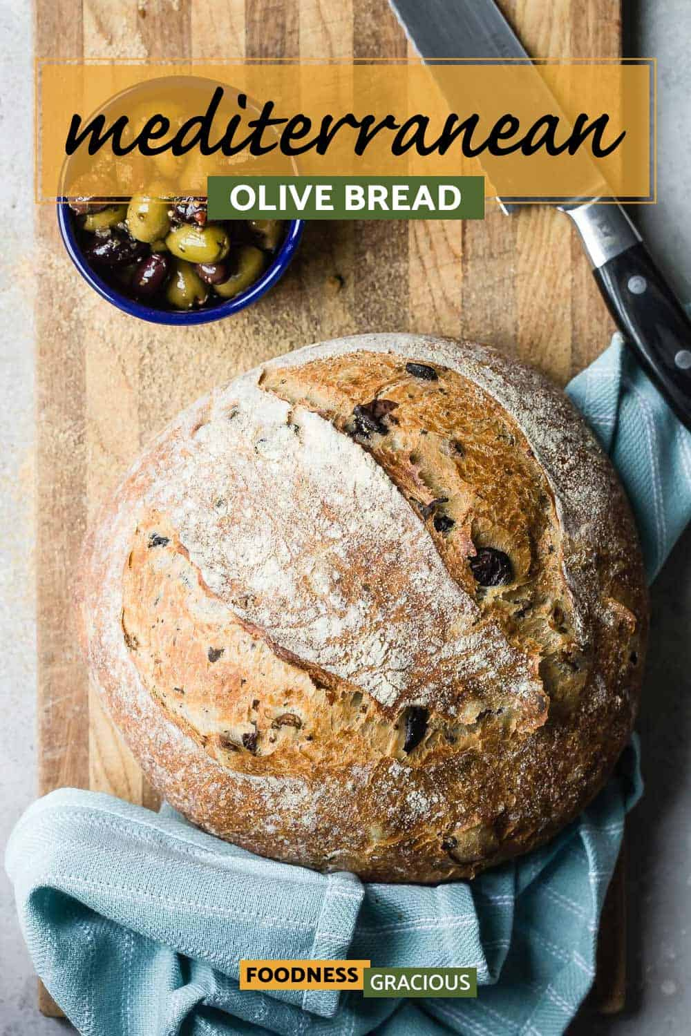 olive bread on a cutting board