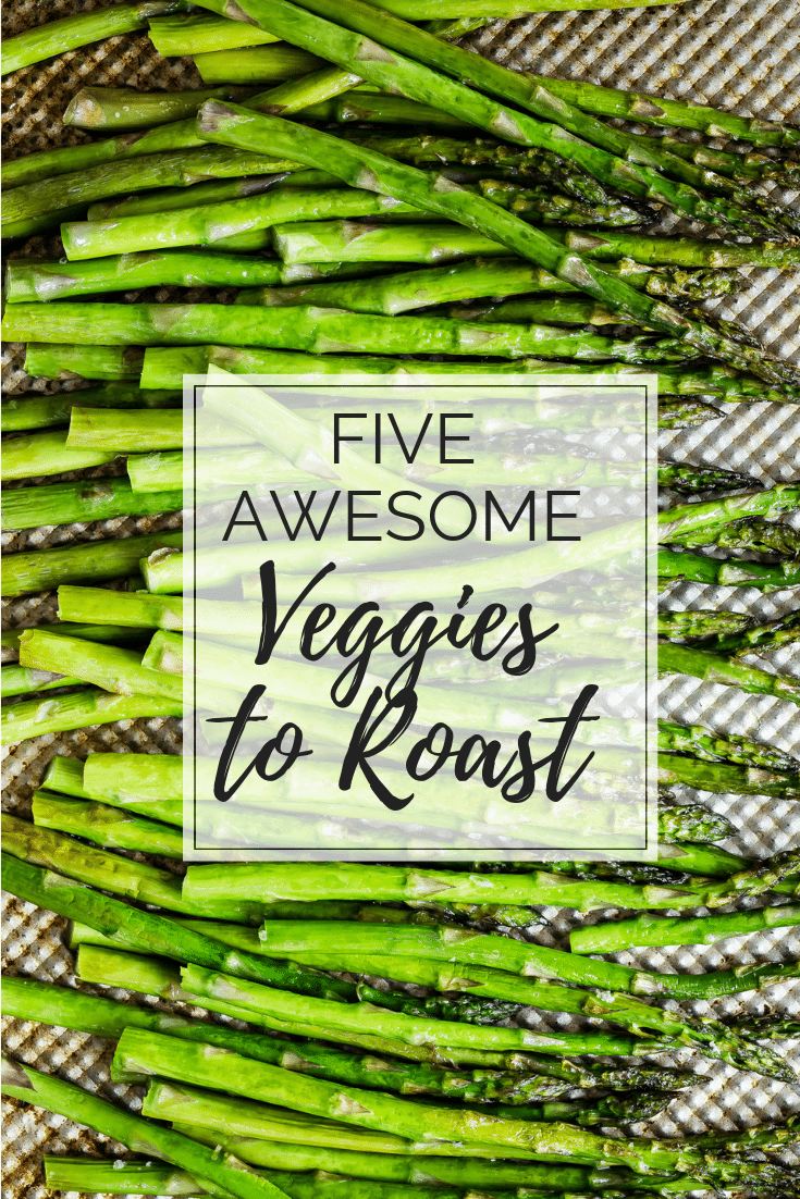 Roasted asparagus on a pan