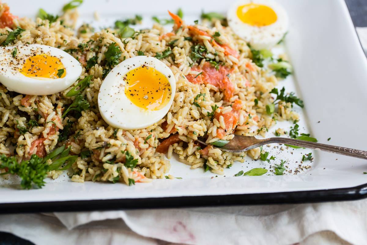 smoked salmon kedgeree on a plate