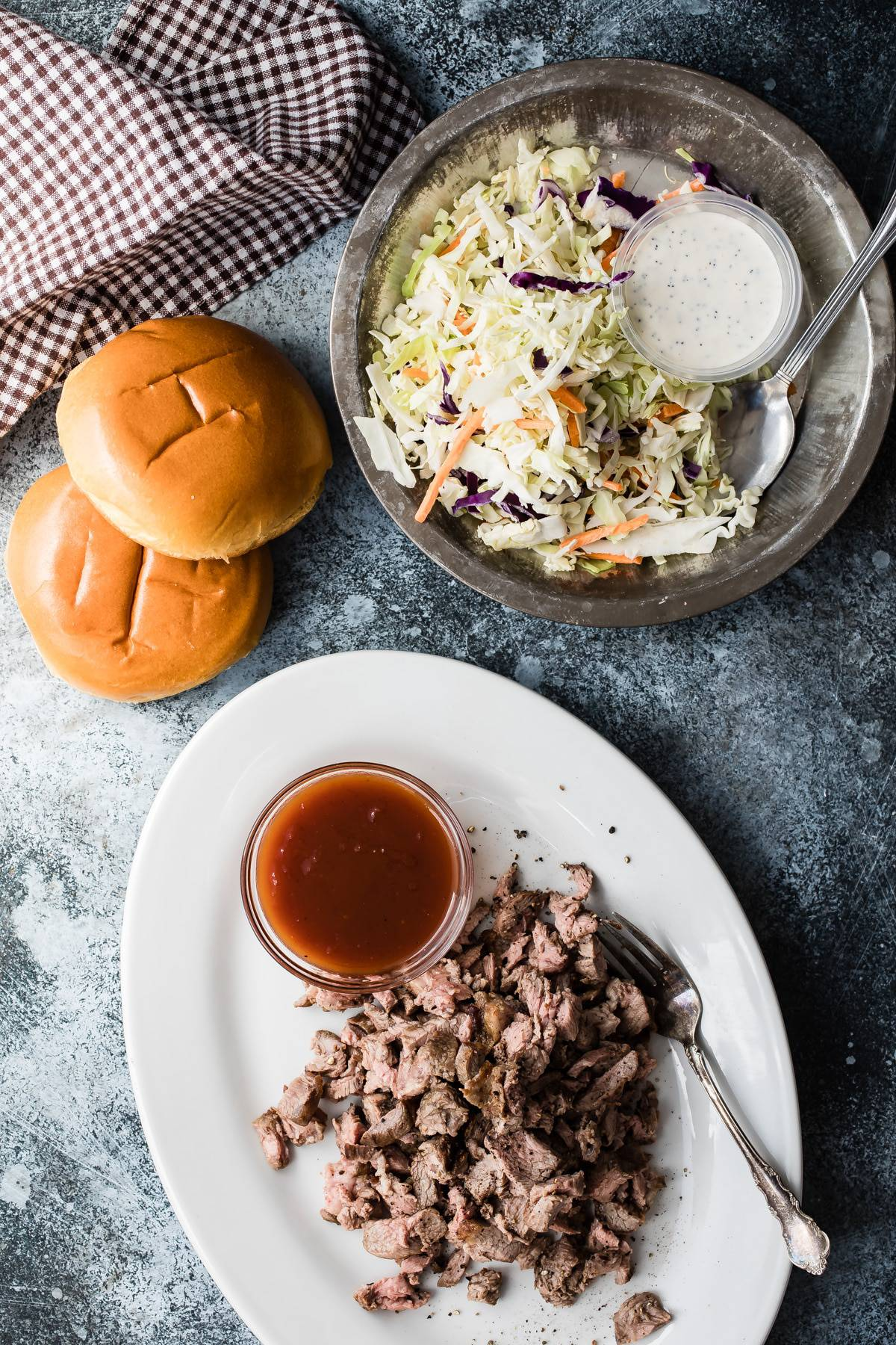 grilled lamb with coleslaw and bbq sauce