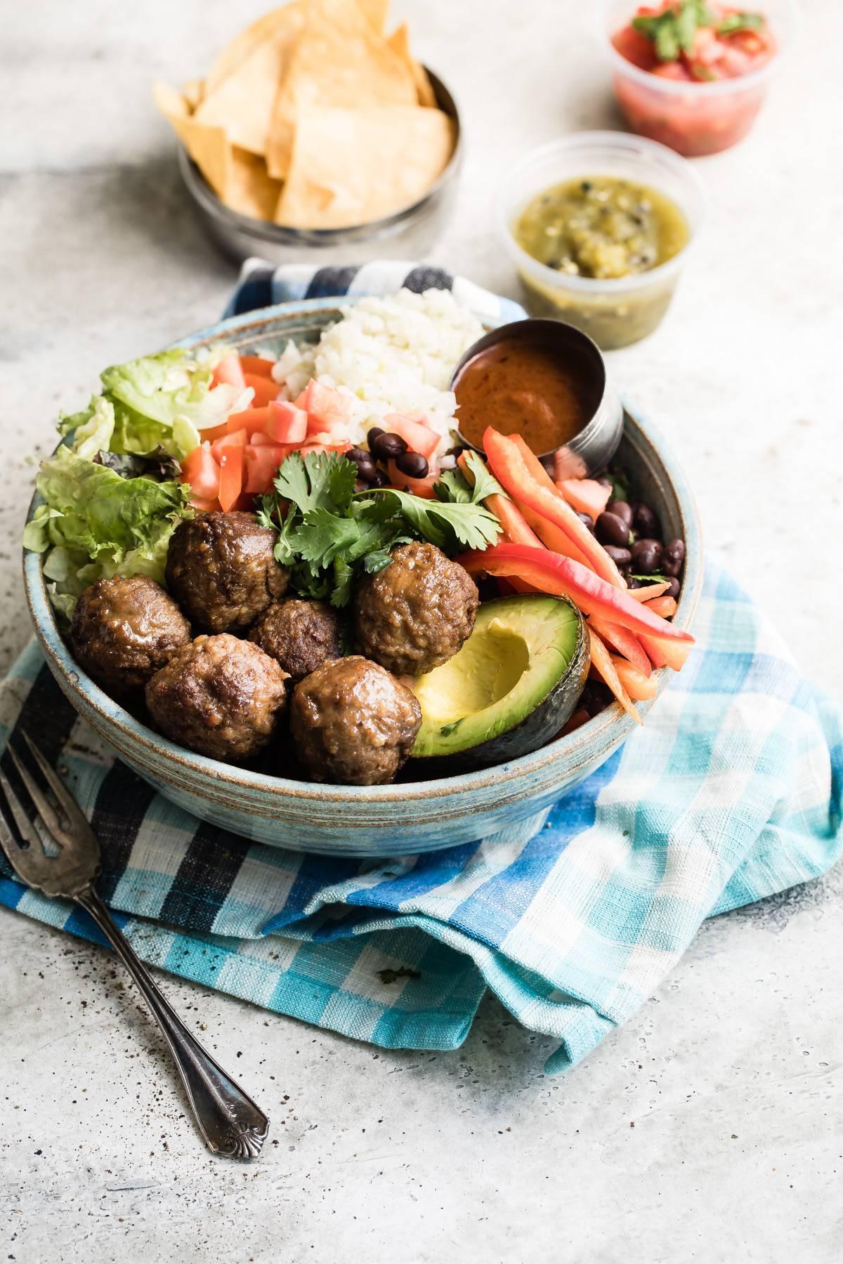 meatball burrito bowl with salsa