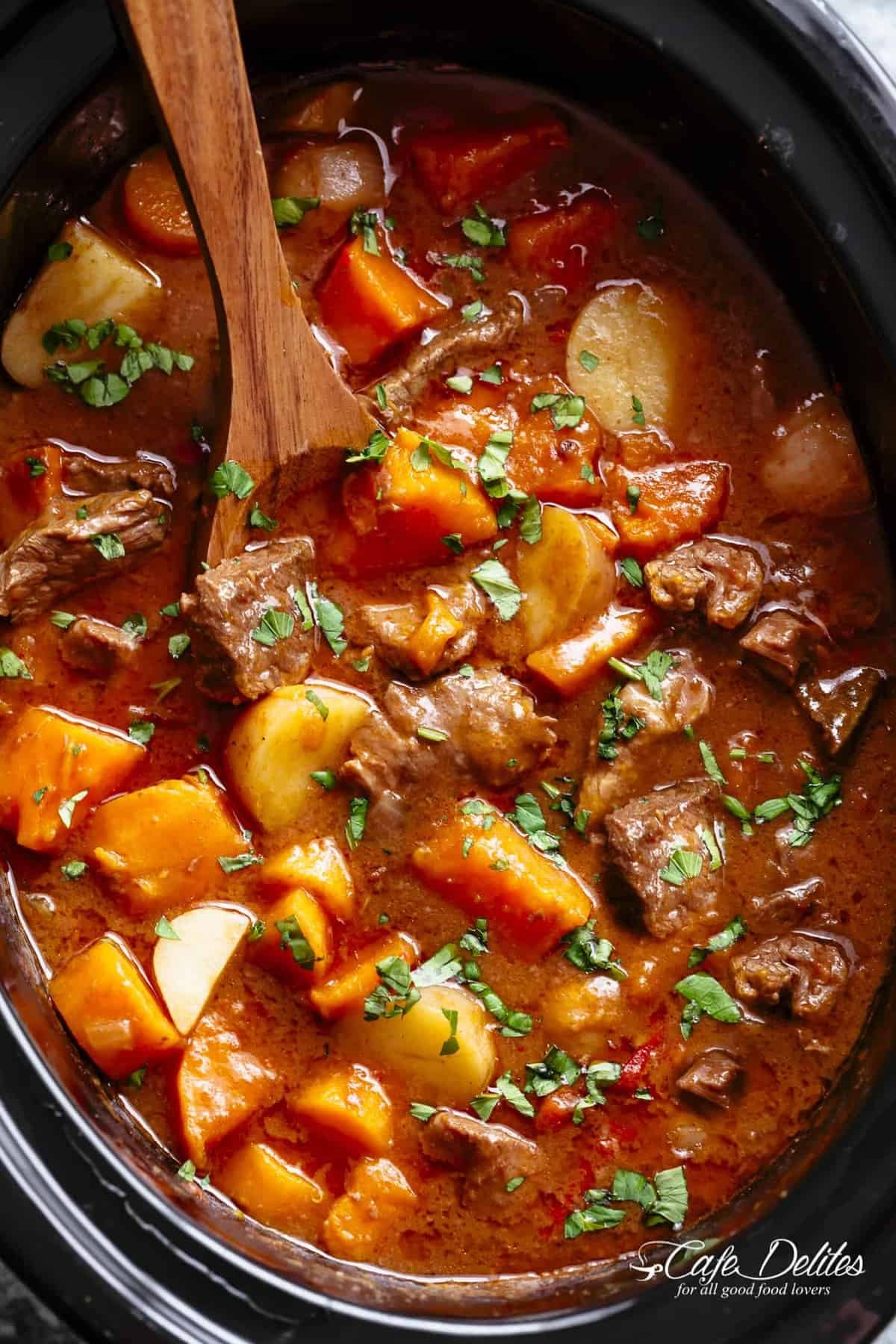 rich beef stew in the slow cooker