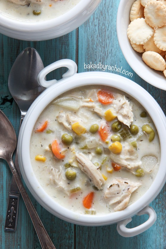 slow cooker chicken pie soup in a bowl
