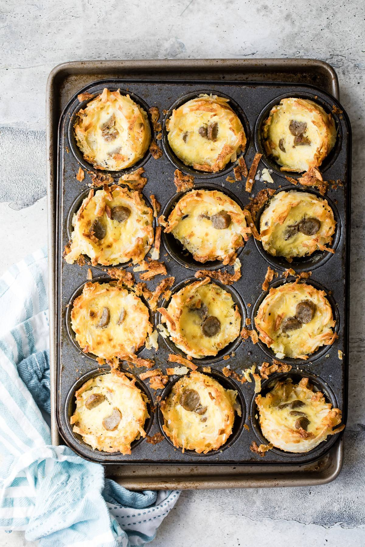 egg and sausage nests in a muffin pan