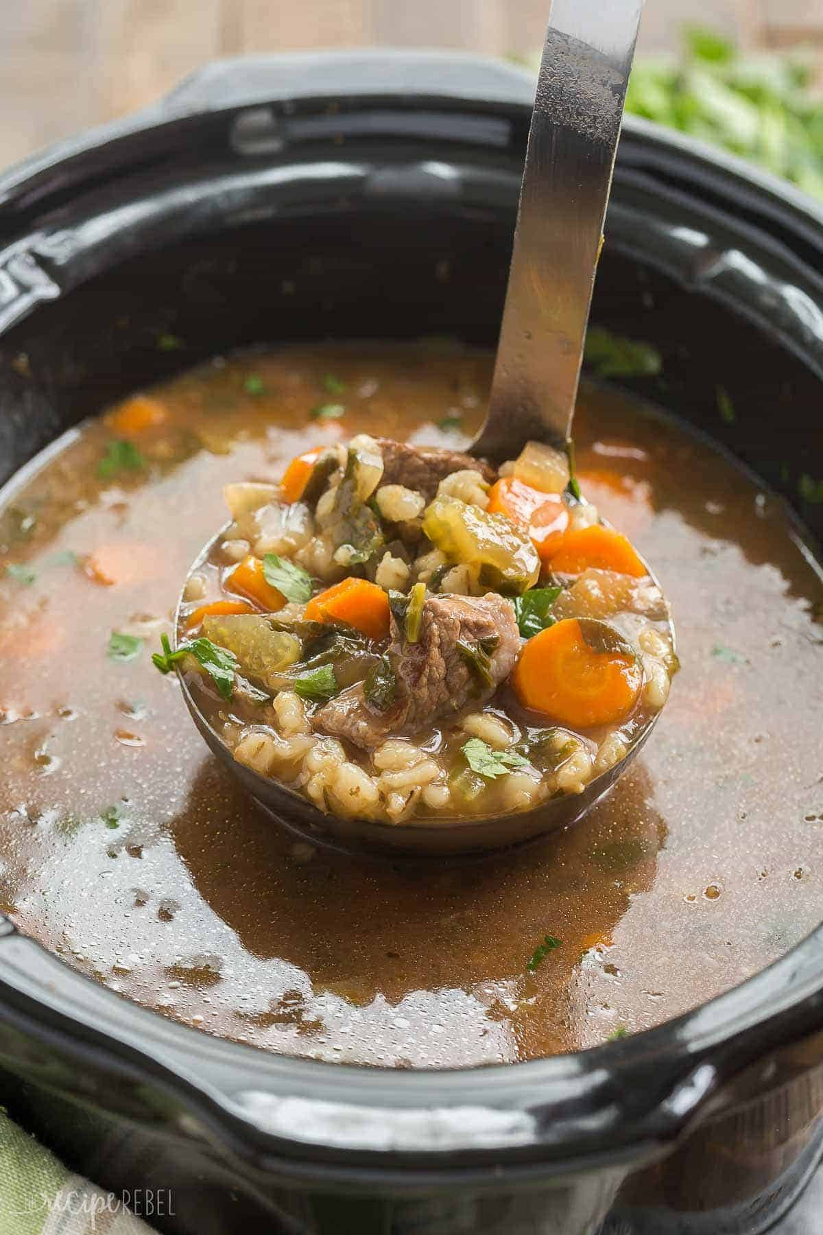 A ladle full of beef barley stew for fall recipes