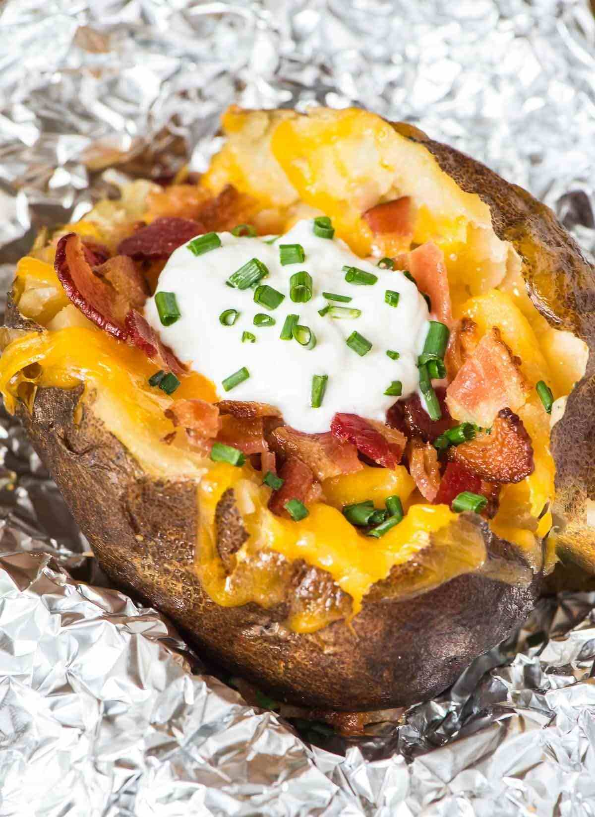 slow cooked baked potatoes