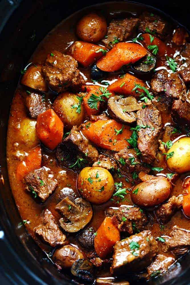 rich beef stew in a slow cooker
