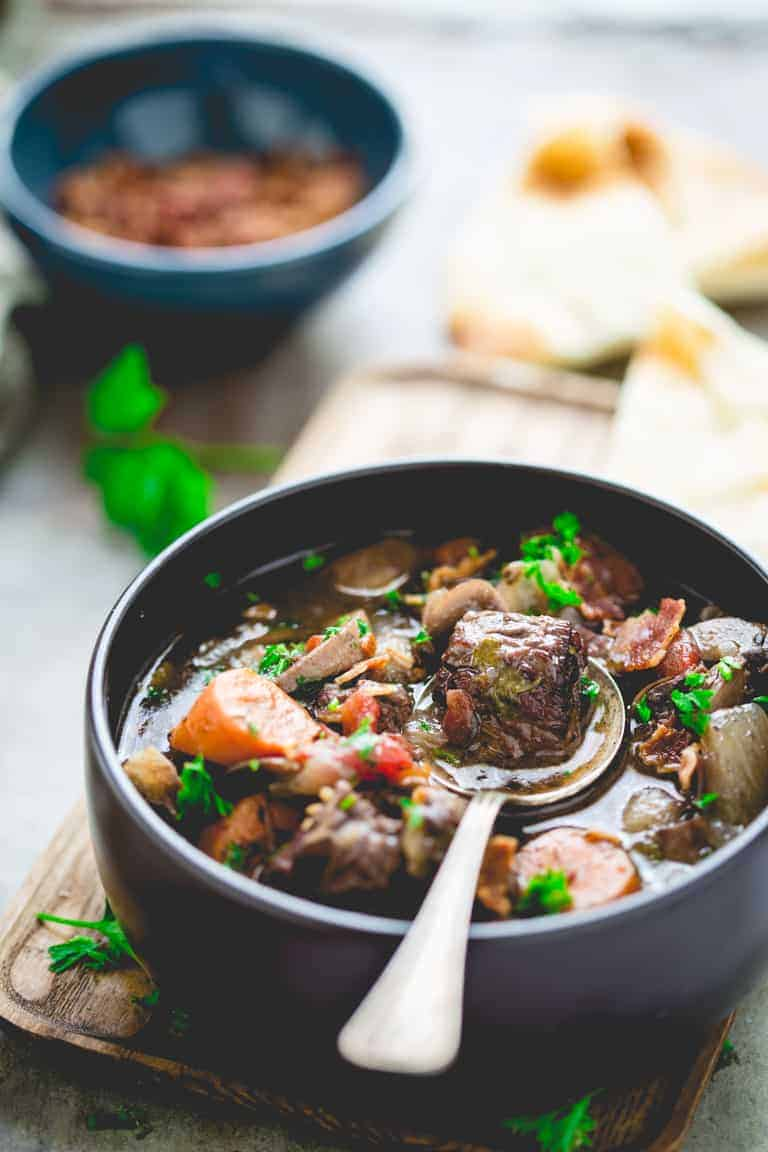 beef burgundy in a bowl