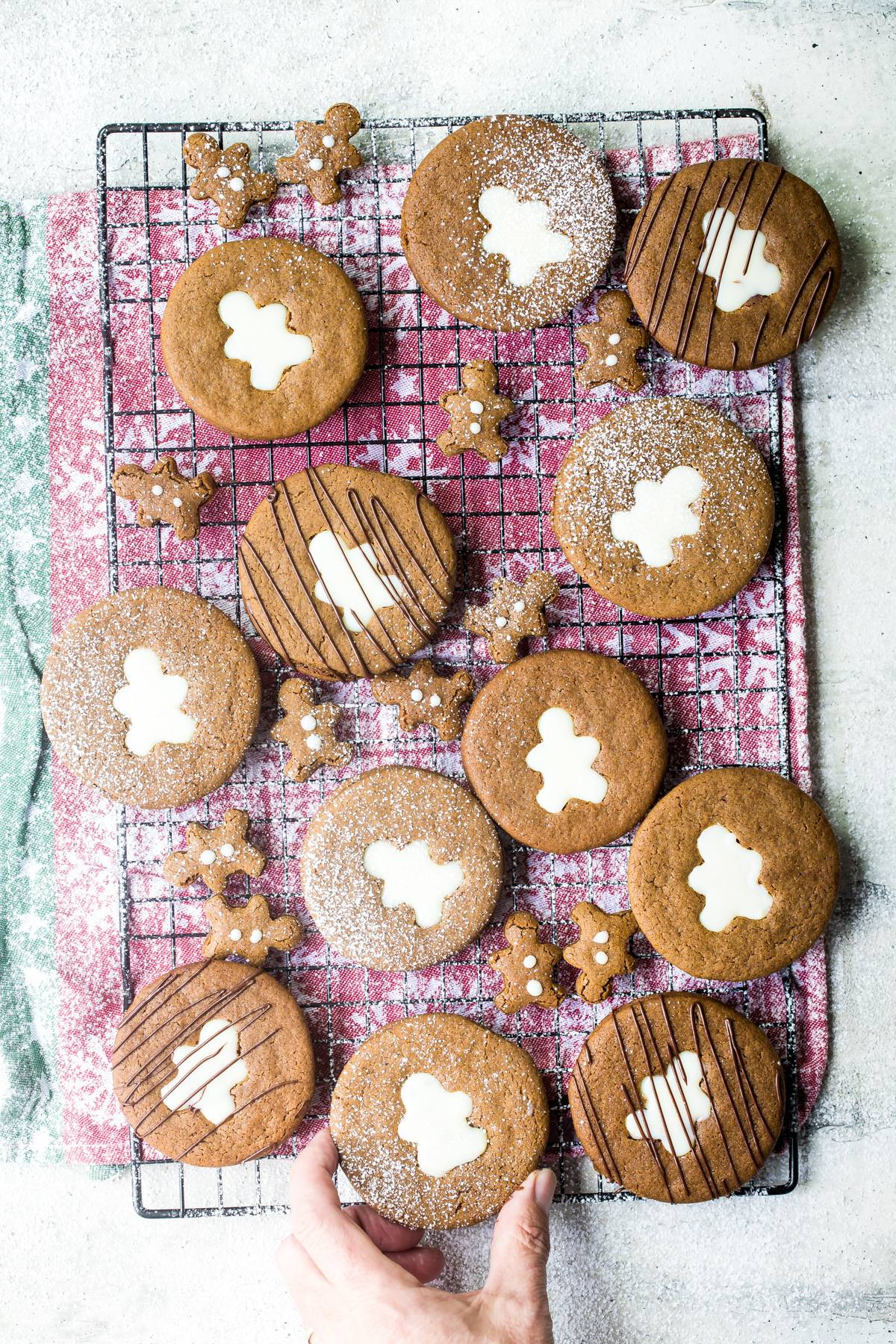 gingerbread liner cookies on a wire rack
