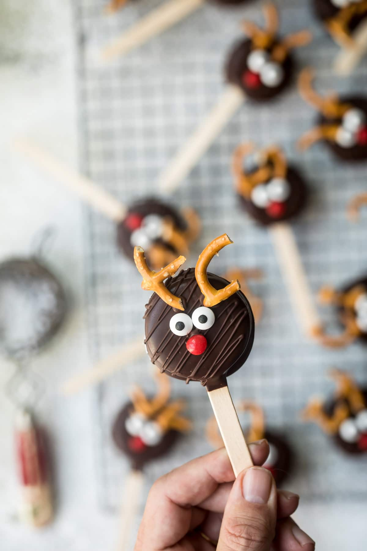 reindeer cookie pops on a stick