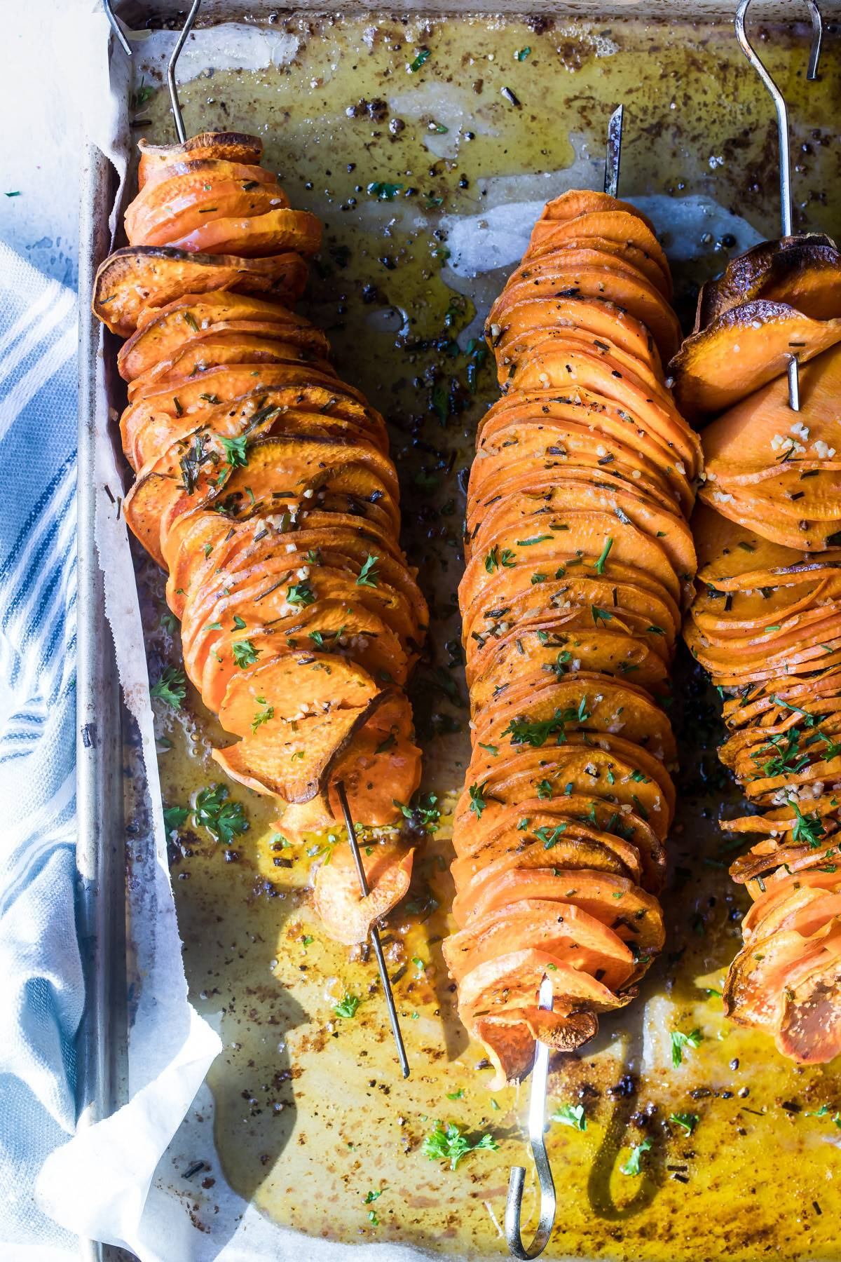roasted sweet potatoes on skewers