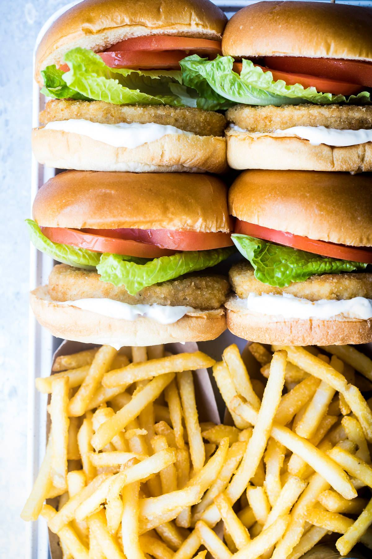 meatless chicken sandwiches with french fries