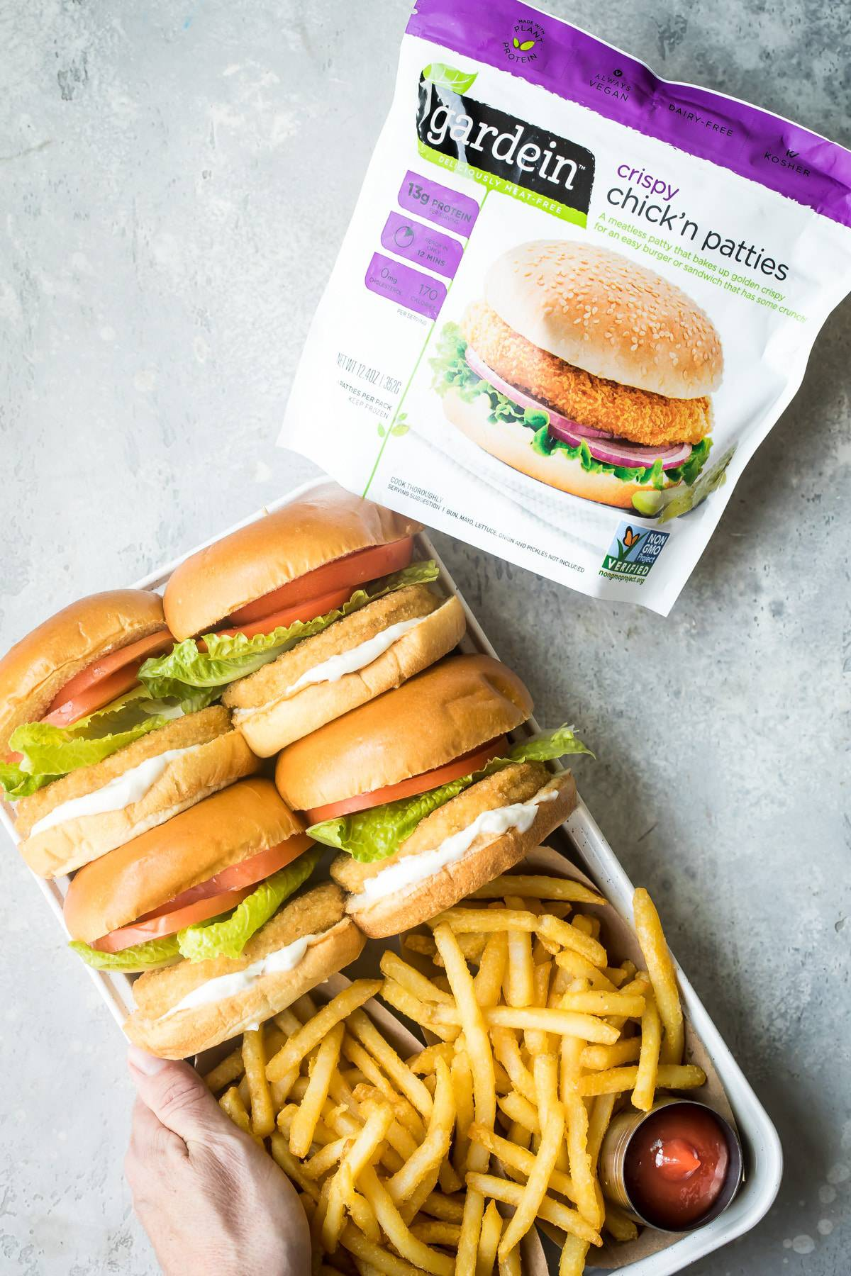 meatless chicken sandwich with french fries