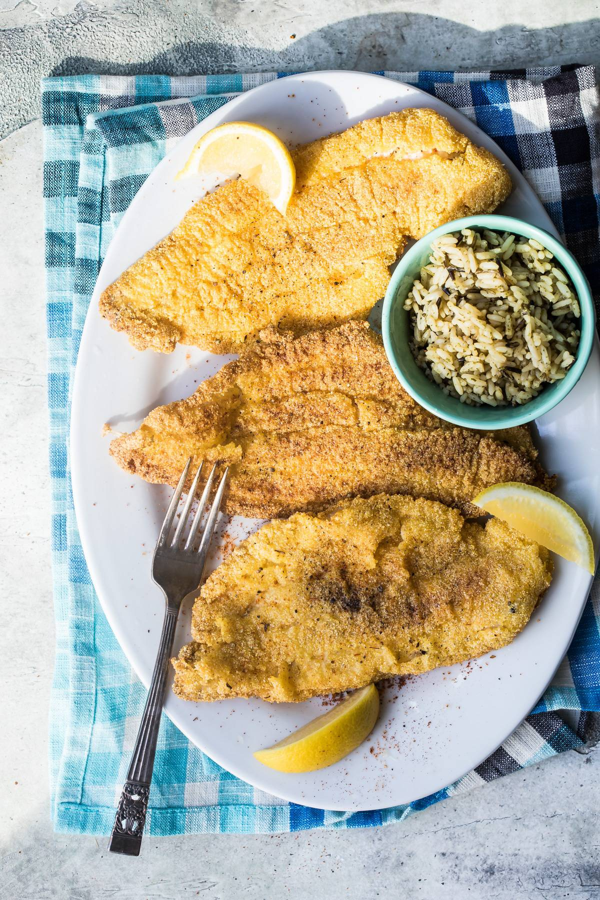 pan fried catfish on a plate