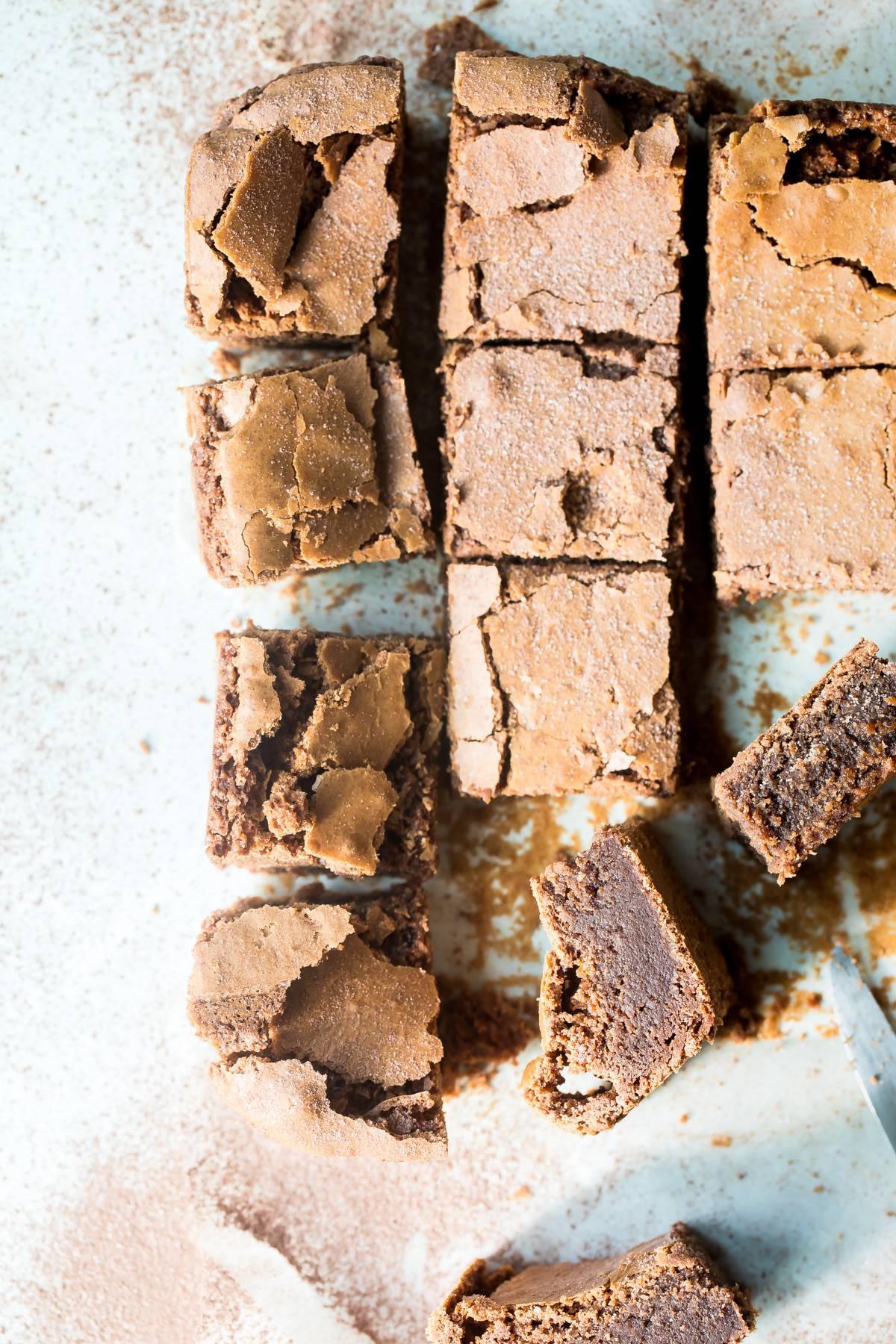 chocolate brownies sliced into squares