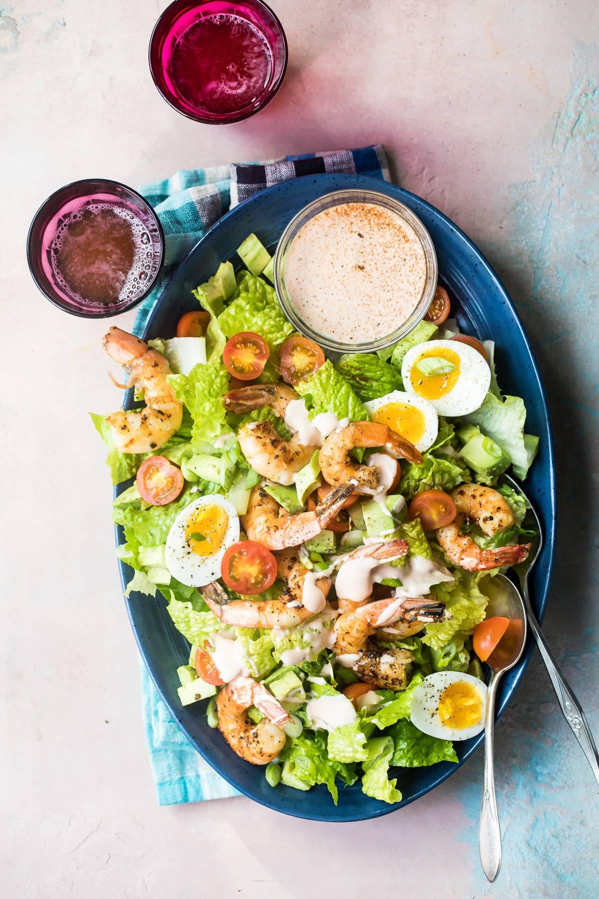 shrimp louie salad on a plate