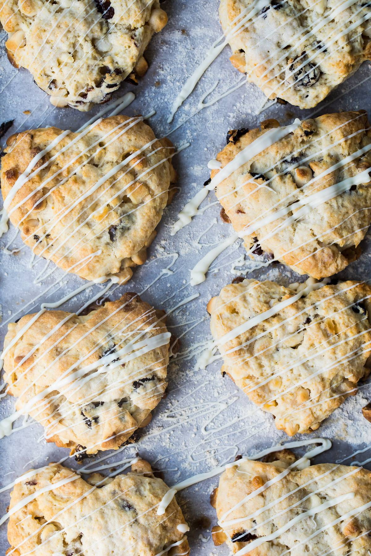 white chocolate chip scones with dried cherries