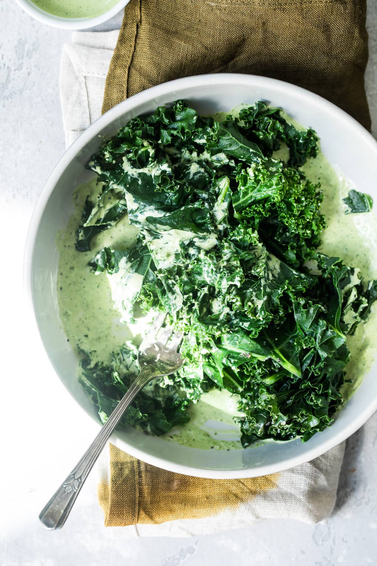 Green Goddess Dressing with Wilted Kale